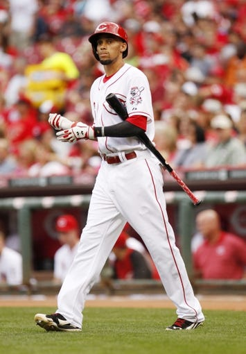Aug 8, 2014; Cincinnati, OH, USA; Cincinnati Reds center fielder Billy Hamilton (6) looks on during the first inning against the Miami Marlins at Great American Ball Park. The Marlins won 2-1. Mandatory Credit: Frank Victores-USA TODAY Sports