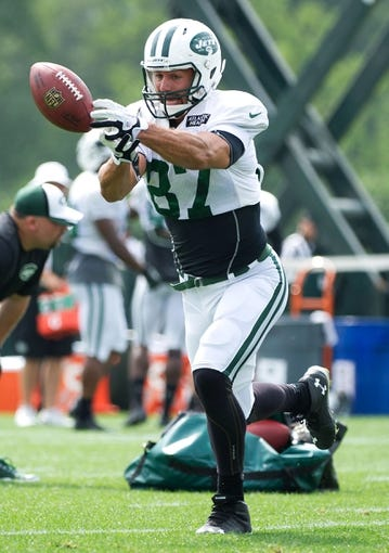 Aug 4, 2014; Cortland, NY, USA; New York Jets wide receiver Eric Decker (87) attempts to make a catch during drills at training camp at SUNY Cortland. Mandatory Credit: Rich Barnes-USA TODAY Sports