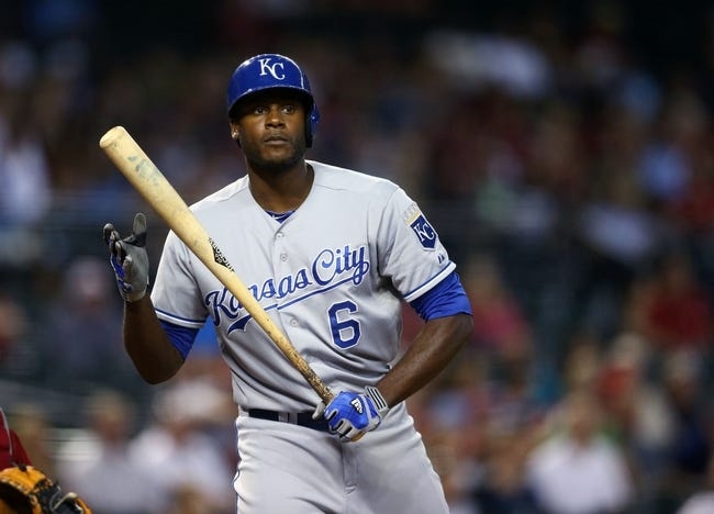 Aug 6, 2014; Phoenix, AZ, USA; Kansas City Royals outfielder Lorenzo Cain against the Arizona Diamondbacks at Chase Field. Mandatory Credit: Mark J. Rebilas-USA TODAY Sports