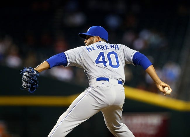 Aug 6, 2014; Phoenix, AZ, USA; Kansas City Royals pitcher Kelvin Herrera against the Arizona Diamondbacks at Chase Field. Mandatory Credit: Mark J. Rebilas-USA TODAY Sports