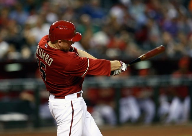 Aug 6, 2014; Phoenix, AZ, USA; Arizona Diamondbacks first baseman Mark Trumbo against the Kansas City Royals at Chase Field. Mandatory Credit: Mark J. Rebilas-USA TODAY Sports