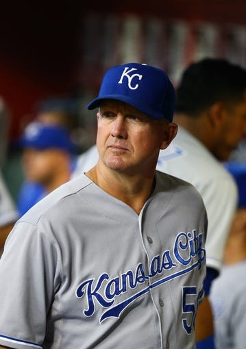 Aug 6, 2014; Phoenix, AZ, USA; Kansas City Royals pitching coach Dave Eiland against the Arizona Diamondbacks at Chase Field. Mandatory Credit: Mark J. Rebilas-USA TODAY Sports