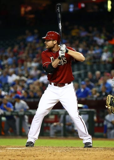 Aug 6, 2014; Phoenix, AZ, USA; Arizona Diamondbacks outfielder Roger Kieschnick against the Kansas City Royals at Chase Field. Mandatory Credit: Mark J. Rebilas-USA TODAY Sports