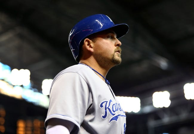 Aug 6, 2014; Phoenix, AZ, USA; Kansas City Royals first baseman Billy Butler against the Arizona Diamondbacks at Chase Field. Mandatory Credit: Mark J. Rebilas-USA TODAY Sports