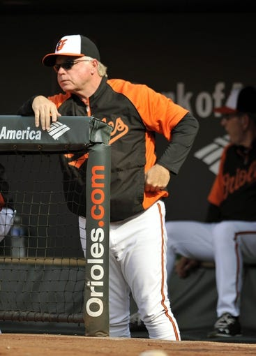 Aug 9, 2014; Baltimore, MD, USA; Baltimore Orioles manager Buck Showalter (26) during a game against the St. Louis Cardinals at Oriole Park at Camden Yards. Mandatory Credit: Joy R. Absalon-USA TODAY Sports