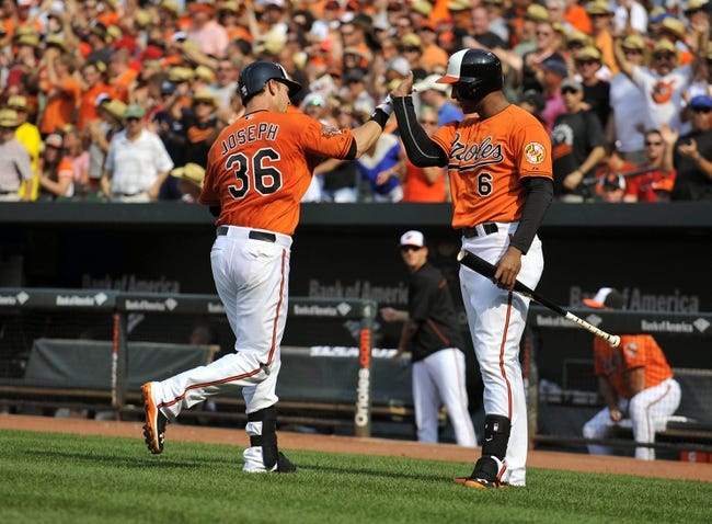 Aug 9, 2014; Baltimore, MD, USA; Baltimore Orioles catcher Caleb Joseph (36) is congratulated by Jonathan Schoop (6) after hitting a two-run home run in the second inning against the St. Louis Cardinals at Oriole Park at Camden Yards. Mandatory Credit: Joy R. Absalon-USA TODAY Sports