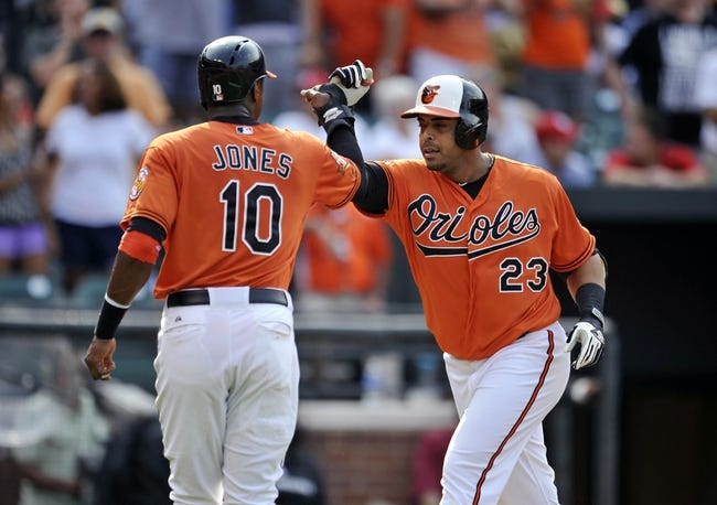 Aug 9, 2014; Baltimore, MD, USA; Baltimore Orioles designated hitter Nelson Cruz (23) is congratulated by Adam Jones (10) after hitting a two-run home run in the third inning against the St. Louis Cardinals at Oriole Park at Camden Yards. Mandatory Credit: Joy R. Absalon-USA TODAY Sports
