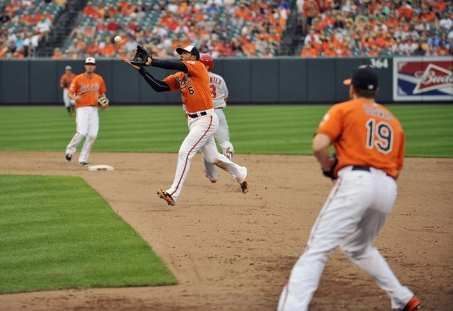 Aug 9, 2014; Baltimore, MD, USA; St. Louis Cardinals second baseman Kolten Wong (not shown) grounds out to Baltimore Orioles second baseman Jonathan Schoop (6) in the ninth inning at Oriole Park at Camden Yards. The Orioles defeated the Cardinals 10-3. Mandatory Credit: Joy R. Absalon-USA TODAY Sports