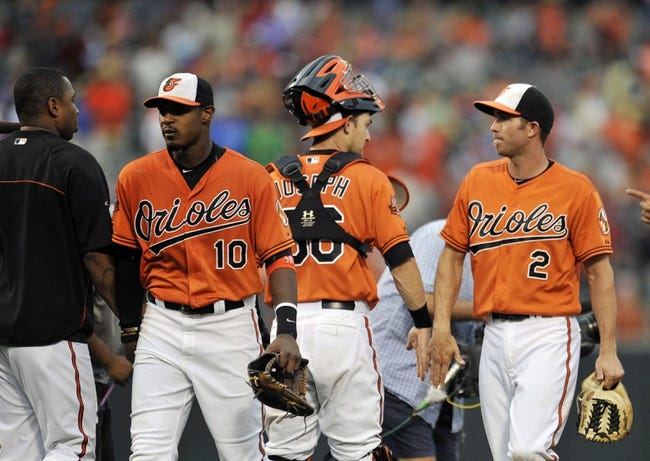 Aug 9, 2014; Baltimore, MD, USA; Baltimore Orioles players including Adam Jones (10) and J.J. Hardy (2) celebrate after a game against the St. Louis Cardinals at Oriole Park at Camden Yards. The Orioles defeated the Cardinals 10-3. Mandatory Credit: Joy R. Absalon-USA TODAY Sports