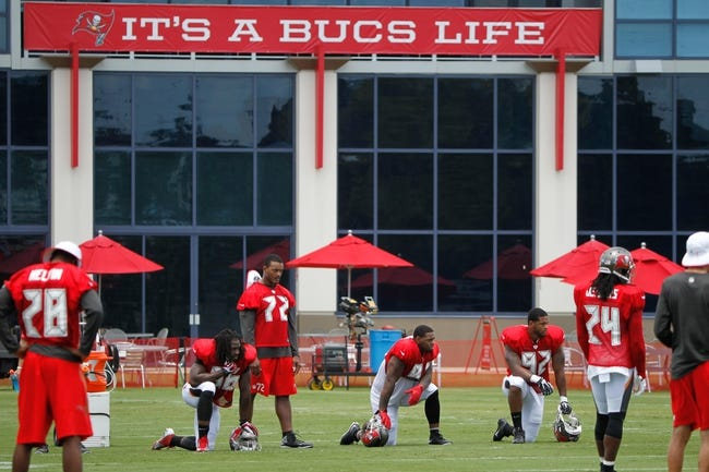 Jul 28, 2014; Tampa, FL, USA; An overview of Tampa Bay Buccaneers defense during training camp at One Buc Place. Mandatory Credit: Kim Klement-USA TODAY Sports