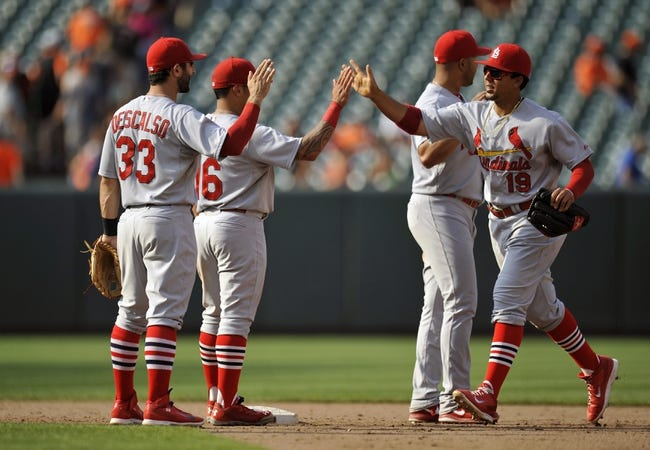 Aug 10, 2014; Baltimore, MD, USA; St. Louis Cardinals teammates Daniel Descalso (33) Kolten Wong (16) and Jon Jay (19) celebrate after a game against the Baltimore Orioles at Oriole Park at Camden Yards. The Cardinals defeated the Orioles 8-3. Mandatory Credit: Joy R. Absalon-USA TODAY Sports