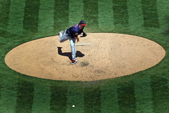 Aug 10, 2014; Oakland, CA, USA; Minnesota Twins starting pitcher Phil Hughes (45) throws to the Oakland Athletics in the third inning at O.co Coliseum. Mandatory Credit: Lance Iversen-USA TODAY Sports