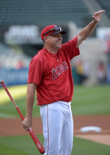 Aug 8, 2014; Anaheim, CA, USA; Los Angeles Angels third base coach Gary DiSarcina before the game against the Boston Red Sox at Angel Stadium of Anaheim. Mandatory Credit: Kirby Lee-USA TODAY Sports