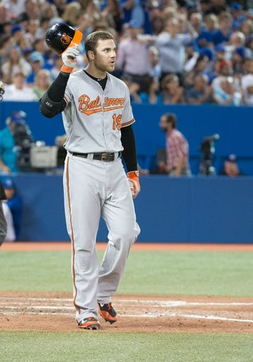 Aug 7, 2014; Toronto, Ontario, CAN; Baltimore Orioles first baseman Chris Davis (19) reacts to striking out in a game against the Toronto Blue Jays at Rogers Centre. The Baltimore Orioles won 2-1. Mandatory Credit: Nick Turchiaro-USA TODAY Sports