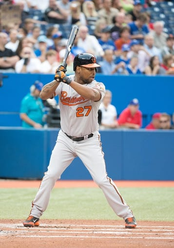 Aug 7, 2014; Toronto, Ontario, CAN; Baltimore Orioles designated hitter Delmon Young (27) gets ready to hit in a game against the Toronto Blue Jays at Rogers Centre. The Baltimore Orioles won 2-1. Mandatory Credit: Nick Turchiaro-USA TODAY Sports