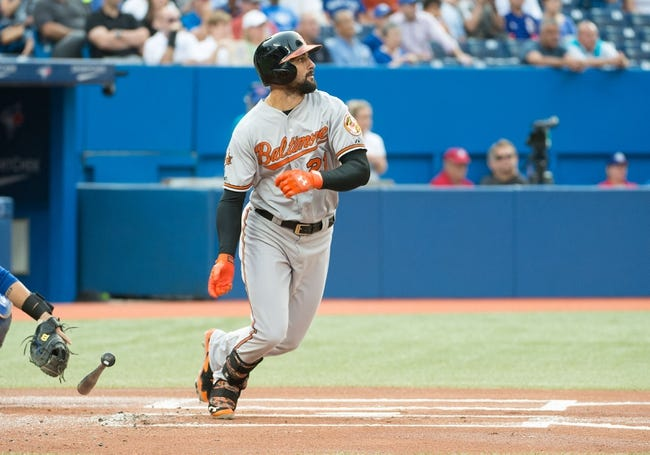 Aug 7, 2014; Toronto, Ontario, CAN; Baltimore Orioles right fielder Nick Markakis (21) reacts to a hit in a game against the Toronto Blue Jays at Rogers Centre. The Baltimore Orioles won 2-1. Mandatory Credit: Nick Turchiaro-USA TODAY Sports