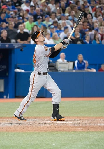 Aug 7, 2014; Toronto, Ontario, CAN; Baltimore Orioles catcher Caleb Joseph (36) hits a ball in a game against the Toronto Blue Jays at Rogers Centre. The Baltimore Orioles won 2-1. Mandatory Credit: Nick Turchiaro-USA TODAY Sports