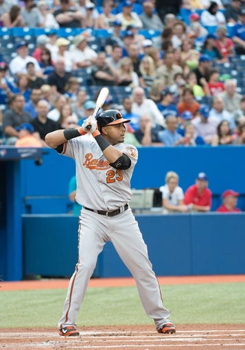 Aug 7, 2014; Toronto, Ontario, CAN; Baltimore Orioles left fielder Nelson Cruz (23) gets ready to hit in a game against the Toronto Blue Jays at Rogers Centre. The Baltimore Orioles won 2-1. Mandatory Credit: Nick Turchiaro-USA TODAY Sports