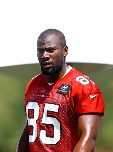 Jun 10, 2014; Tempe, AZ, USA; Arizona Cardinals tight end Darren Fells during mini camp at the teams Tempe training facility. Mandatory Credit: Mark J. Rebilas-USA TODAY Sports