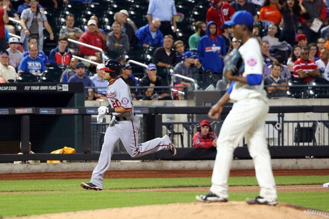 Aug 12, 2014; New York, NY, USA; Washington Nationals shortstop Ian Desmond (20) rounds the bases on his two run home run during the sixth inning against the New York Mets at Citi Field. Mandatory Credit: Anthony Gruppuso-USA TODAY Sports