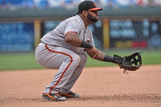 Aug 10, 2014; Kansas City, MO, USA; San Francisco Giants third basemen Pablo Sandoval (48) gets set on defense against the Kansas City Royals during the fifth inning at Kauffman Stadium. Mandatory Credit: Peter G. Aiken-USA TODAY Sports