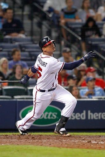Jul 18, 2014; Atlanta, GA, USA; Atlanta Braves catcher Christian Bethancourt (25) bats against the Philadelphia Phillies in the eighth inning at Turner Field. Mandatory Credit: Brett Davis-USA TODAY Sports