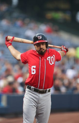 Aug 10, 2014; Atlanta, GA, USA; Washington Nationals third baseman Anthony Rendon (6) prepares to bat against Atlanta Braves starting pitcher Alex Wood (not pictured) in the first inning of their game at Turner Field. The Braves won 3-1. Mandatory Credit: Jason Getz-USA TODAY Sports