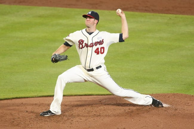 Aug 10, 2014; Atlanta, GA, USA; Atlanta Braves starting pitcher Alex Wood (40) delivers a pitch to a Washington Nationals batter in the second inning of their game at Turner Field. The Braves won 3-1. Mandatory Credit: Jason Getz-USA TODAY Sports