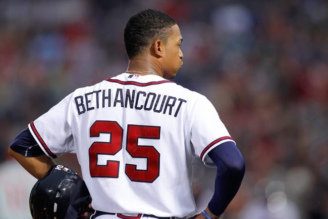 Jul 18, 2014; Atlanta, GA, USA; Atlanta Braves catcher Christian Bethancourt (25) stands on third base against the Philadelphia Phillies in the second inning at Turner Field. Mandatory Credit: Brett Davis-USA TODAY Sports