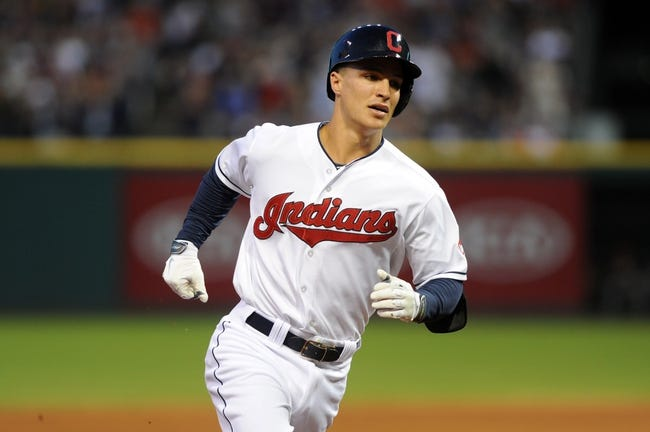 Aug 15, 2014; Cleveland, OH, USA; Cleveland Indians designated hitter Zach Walters (6) rounds the bases after hitting a home run during the fifth inning against the Baltimore Orioles at Progressive Field. Mandatory Credit: Ken Blaze-USA TODAY Sports