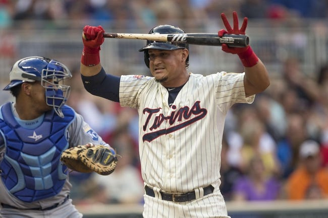 Aug 16, 2014; Minneapolis, MN, USA; Minnesota Twins right fielder Oswaldo Arcia (31) reacts after striking out in fourth inning against the Kansas City Royals at Target Field. Mandatory Credit: Jesse Johnson-USA TODAY Sports