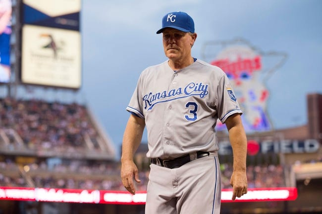 Aug 16, 2014; Minneapolis, MN, USA; Kansas City Royals manager Ned Yost (3) walks off the field after pulling Kansas City Royals starting pitcher Yordano Ventura (not pictured) from the game in the seventh inning against the Minnesota Twins at Target Field. Mandatory Credit: Jesse Johnson-USA TODAY Sports