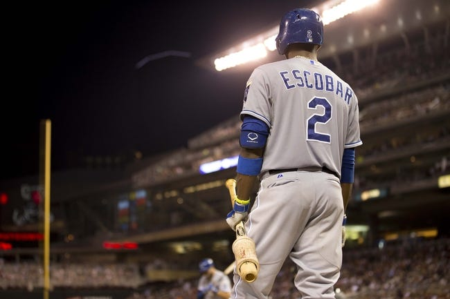 Aug 16, 2014; Minneapolis, MN, USA; Kansas City Royals shortstop Alcides Escobar (2) looks on from the on deck circle in the ninth inning against the Minnesota Twins at Target Field. The Twins won 4-1. Mandatory Credit: Jesse Johnson-USA TODAY Sports