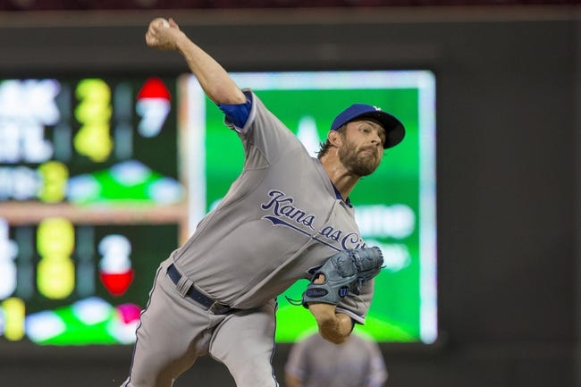 Aug 16, 2014; Minneapolis, MN, USA; Kansas City Royals relief pitcher Aaron Crow (43) delivers a pitch in the eighth inning against the Minnesota Twins at Target Field. The Twins won 4-1. Mandatory Credit: Jesse Johnson-USA TODAY Sports