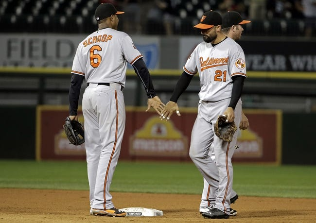 Aug 18, 2014; Chicago, IL, USA; Baltimore Orioles right fielder Nick Markakis (21) and second baseman Jonathan Schoop (6) high five after beating the Chicago White Sox 8-2 at U.S Cellular Field. Mandatory Credit: Jon Durr-USA TODAY Sports