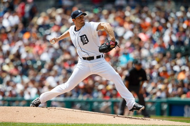 Aug 14, 2014; Detroit, MI, USA; Detroit Tigers starting pitcher Max Scherzer (37) pitches in the first inning against the Pittsburgh Pirates at Comerica Park. Mandatory Credit: Rick Osentoski-USA TODAY Sports