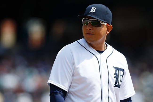 Aug 14, 2014; Detroit, MI, USA; Detroit Tigers first baseman Miguel Cabrera (24) during the game against the Pittsburgh Pirates at Comerica Park. Mandatory Credit: Rick Osentoski-USA TODAY Sports