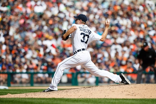 Aug 14, 2014; Detroit, MI, USA; Detroit Tigers starting pitcher Max Scherzer (37) pitches against the Pittsburgh Pirates at Comerica Park. Mandatory Credit: Rick Osentoski-USA TODAY Sports