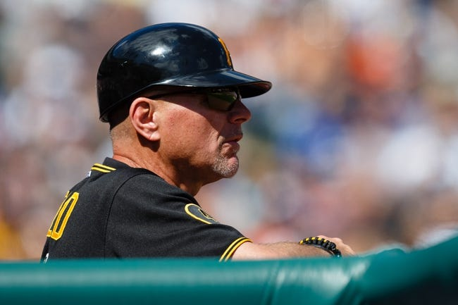 Aug 14, 2014; Detroit, MI, USA; Pittsburgh Pirates first base coach Rick Sofield (41) in the dugout against the Detroit Tigers at Comerica Park. Mandatory Credit: Rick Osentoski-USA TODAY Sports