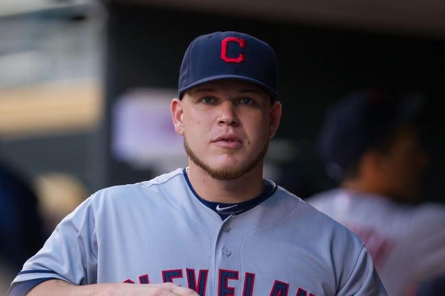 Aug 19, 2014; Minneapolis, MN, USA; Cleveland Indians relief pitcher Marc Rzepczynski (35) in the dugout before the game against the Minnesota Twins at Target Field. Mandatory Credit: Brad Rempel-USA TODAY Sports