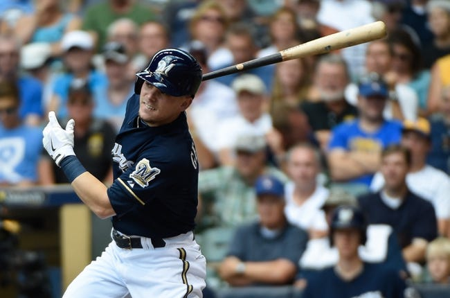 Aug 20, 2014; Milwaukee, WI, USA;  Milwaukee Brewers second baseman Scooter Gennett (2) during the game against the Toronto Blue Jays at Miller Park. Mandatory Credit: Benny Sieu-USA TODAY Sports