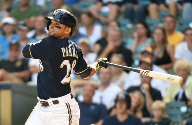 Aug 20, 2014; Milwaukee, WI, USA;  Milwaukee Brewers right fielder Gerardo Parra (28) during the game against the Toronto Blue Jays at Miller Park. Mandatory Credit: Benny Sieu-USA TODAY Sports