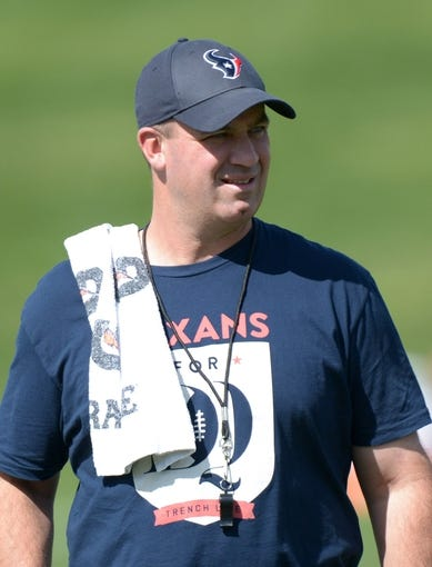 Aug 21, 2014; Englewood, CO, USA; Houston Texans coach Bill O'Brien during scrimmage against the Denver Broncos at the Broncos Headquarters. Mandatory Credit: Kirby Lee-USA TODAY Sports
