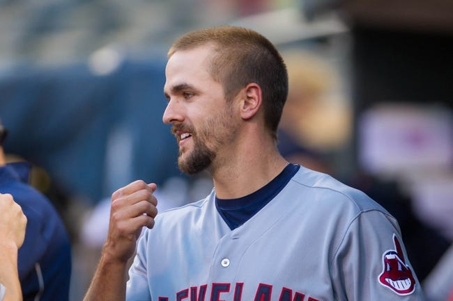 Aug 19, 2014; Minneapolis, MN, USA; Cleveland Indians third baseman Lonnie Chisenhall (8) in the dugout before the game against the Minnesota Twins at Target Field. Mandatory Credit: Brad Rempel-USA TODAY Sports
