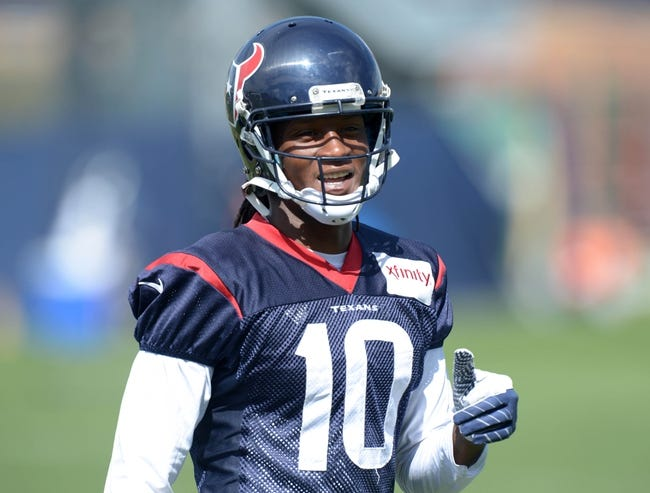 Aug 21, 2014; Englewood, CO, USA; Houston Texans receiver DeAndre Hopkins (10) during scrimmage against the Denver Broncos at the Broncos Headquarters. Mandatory Credit: Kirby Lee-USA TODAY Sports
