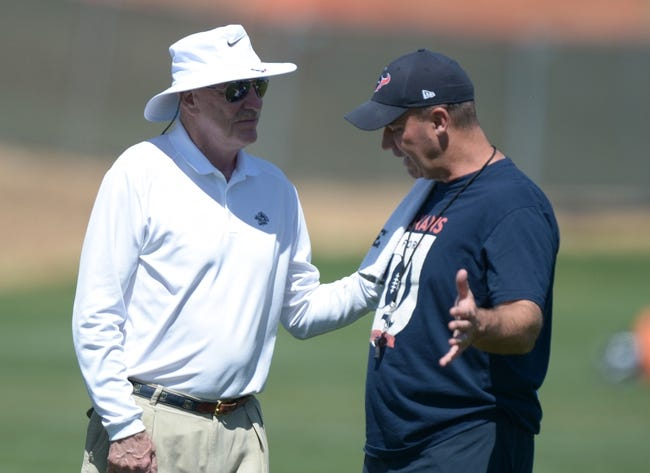 Aug 21, 2014; Englewood, CO, USA; Houston Texans owner Bob McNair (left) and coach Bill O'Brien during scrimmage against the Denver Broncos at the Broncos Headquarters. Mandatory Credit: Kirby Lee-USA TODAY Sports