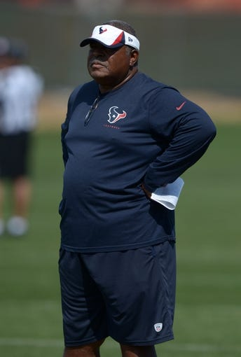 Aug 21, 2014; Englewood, CO, USA; Houston Texans defensive coordinator Romeo Crennel during scrimmage against the Denver Broncos at the Broncos Headquarters. Mandatory Credit: Kirby Lee-USA TODAY Sports