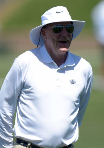 Aug 21, 2014; Englewood, CO, USA; Houston Texans owner Bob McNair during scrimmage against the Denver Broncos at the Broncos Headquarters. Mandatory Credit: Kirby Lee-USA TODAY Sports