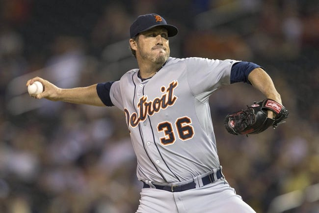 Aug 23, 2014; Minneapolis, MN, USA; Detroit Tigers relief pitcher Joe Nathan (36) delivers a pitch in the ninth inning against the Minnesota Twins at Target Field. The Tigers won 8-6. Mandatory Credit: Jesse Johnson-USA TODAY Sports