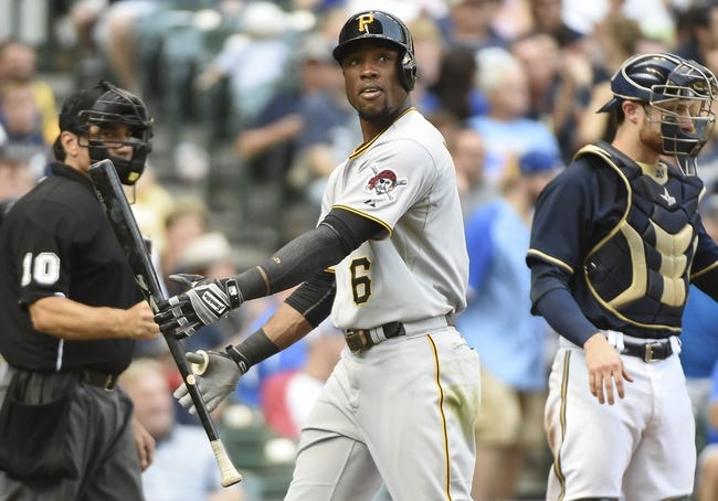 Aug 24, 2014; Milwaukee, WI, USA;   Pittsburgh Pirates left fielder Starling Marte (6) reacts after striking out in the eighth inning during the game against the Milwaukee Brewers at Miller Park. Mandatory Credit: Benny Sieu-USA TODAY Sports